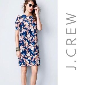 J Crew Silk Floral Knee Length Dress Blue Size 12